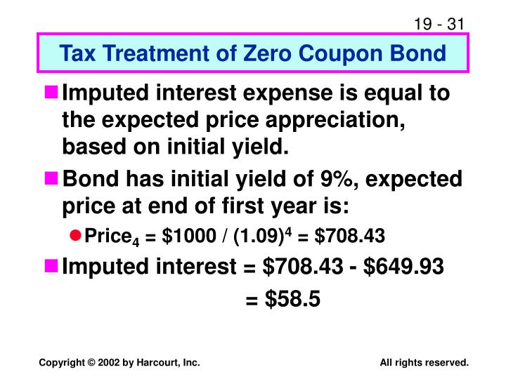 Tax Treatment of Zero Coupon Bond