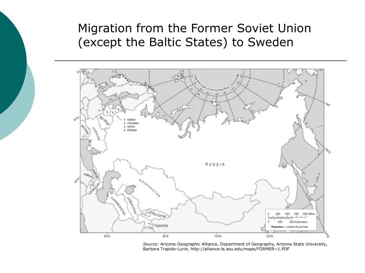 Migration from the Former Soviet Union (except the Baltic States) to Sweden