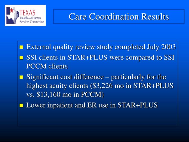 External quality review study completed July 2003