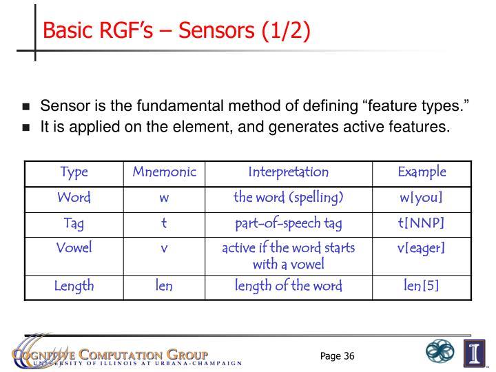 Basic RGF's – Sensors (1/2)