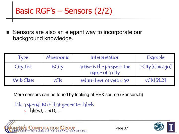 Basic RGF's – Sensors (2/2)