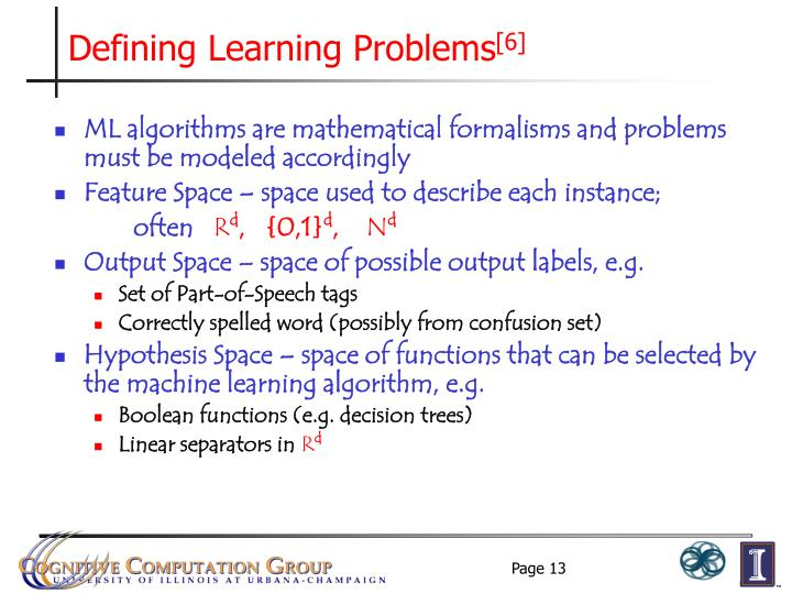 Defining Learning Problems