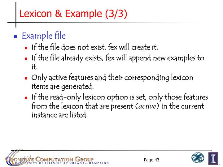 Lexicon & Example (3/3)