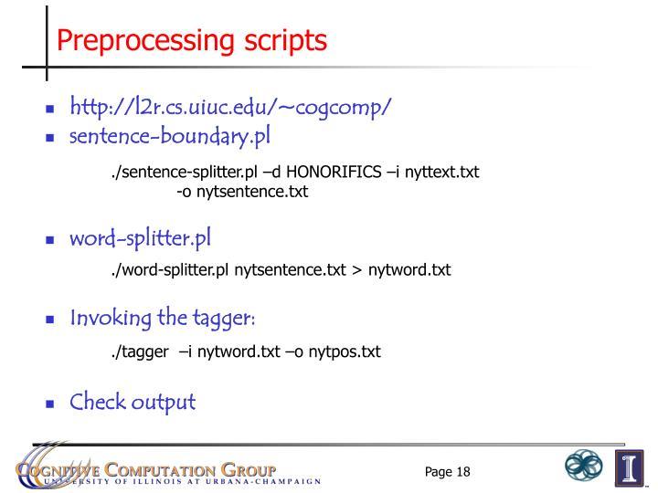 Preprocessing scripts
