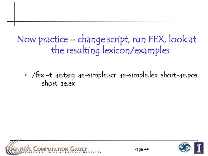 Now practice – change script, run FEX, look at the resulting lexicon/examples