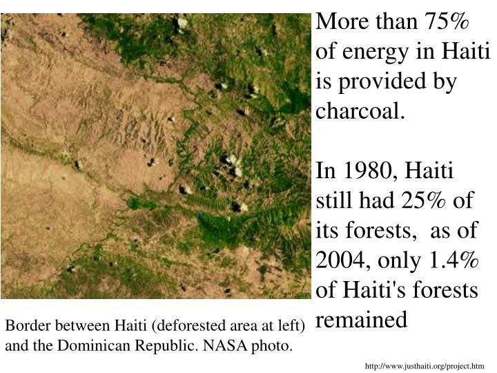 More than 75% of energy in Haiti is provided by charcoal.