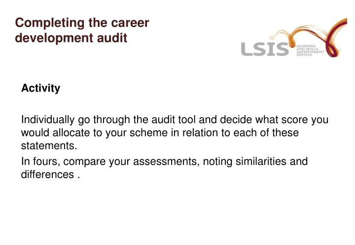 Completing the career development audit