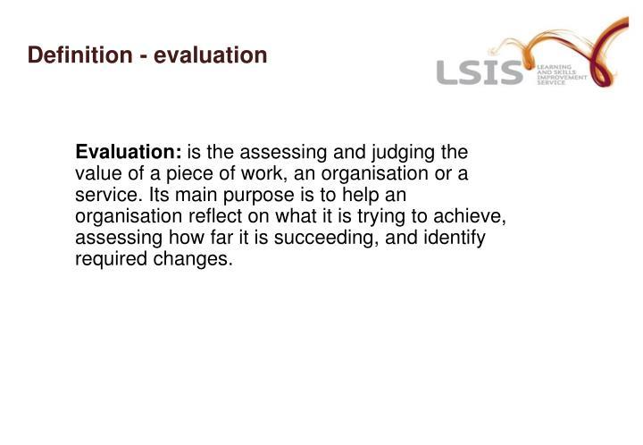 Definition - evaluation