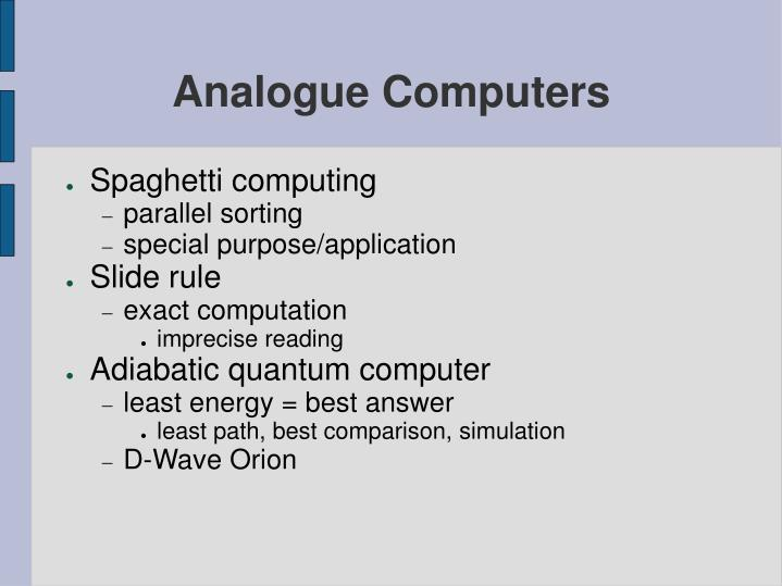 Analogue Computers