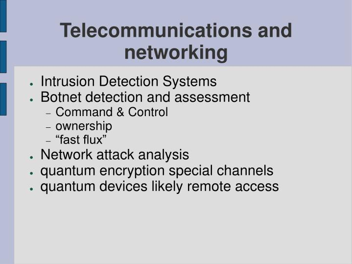 Telecommunications and networking