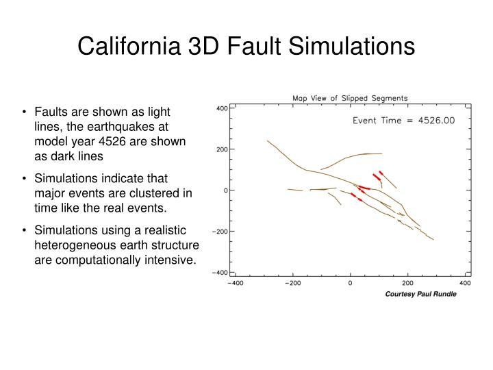 California 3D Fault Simulations