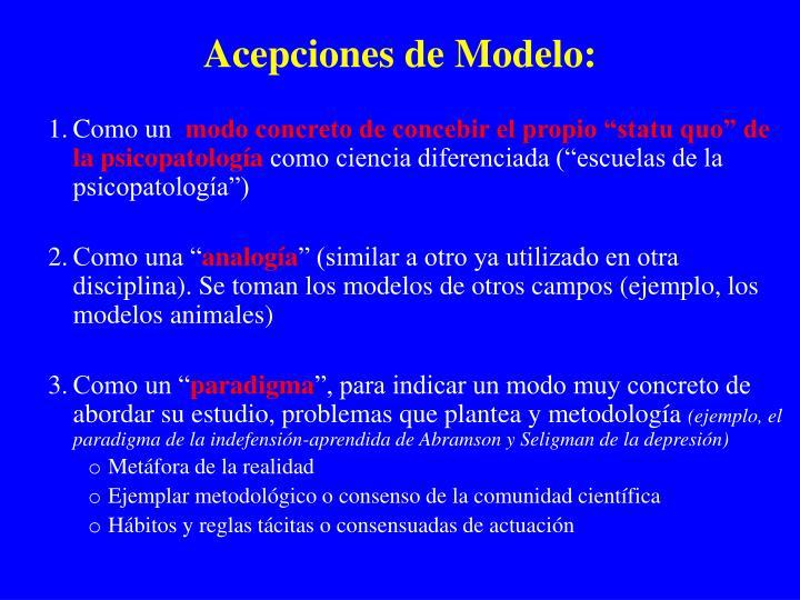 Acepciones de Modelo: