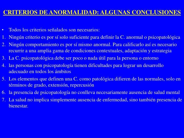 CRITERIOS DE ANORMALIDAD: ALGUNAS CONCLUSIONES