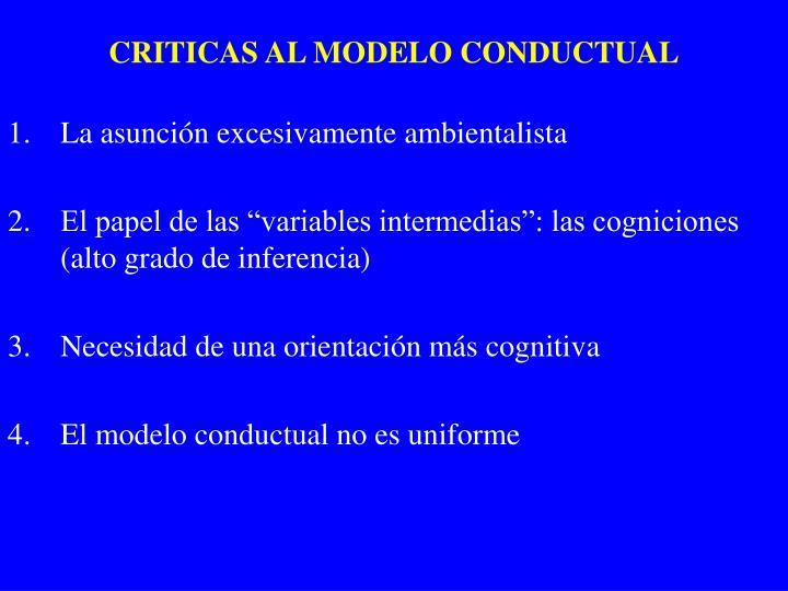 CRITICAS AL MODELO CONDUCTUAL