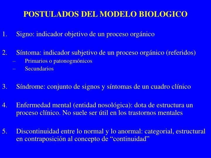 POSTULADOS DEL MODELO BIOLOGICO