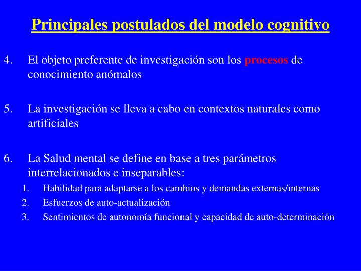 Principales postulados del modelo cognitivo