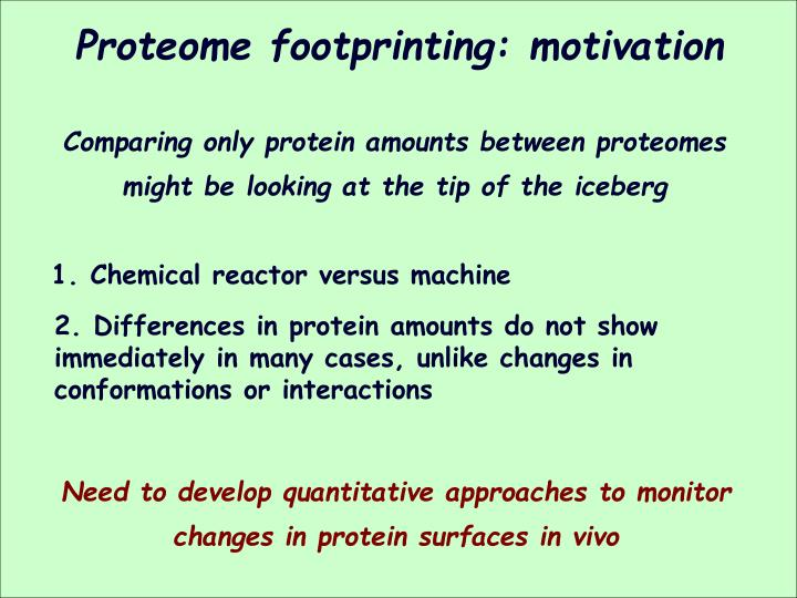 Proteome footprinting: motivation