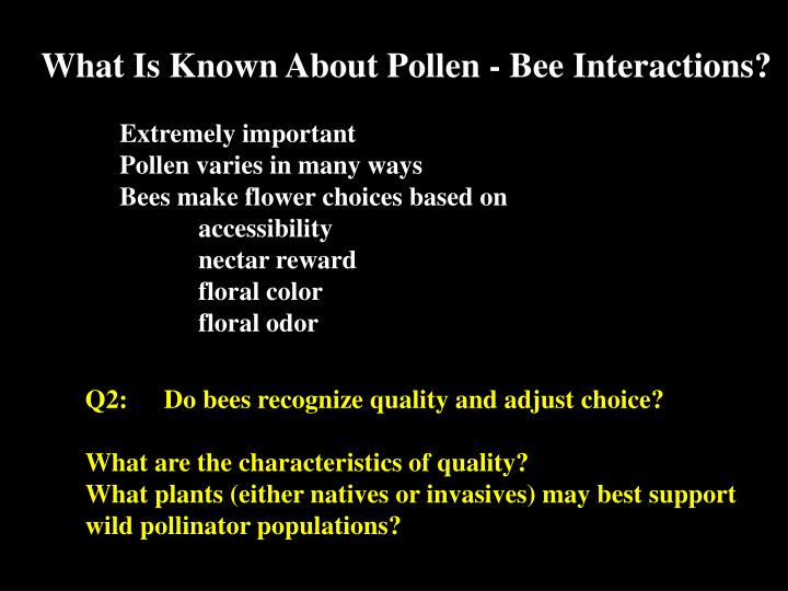 What Is Known About Pollen - Bee Interactions?