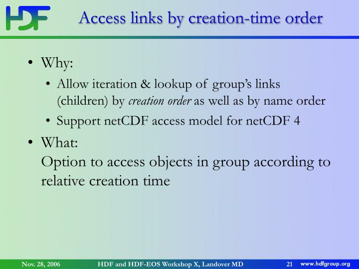 Access links by creation-time order
