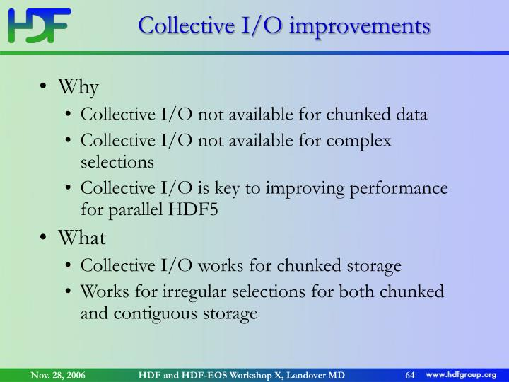 Collective I/O improvements