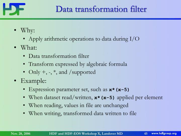Data transformation filter