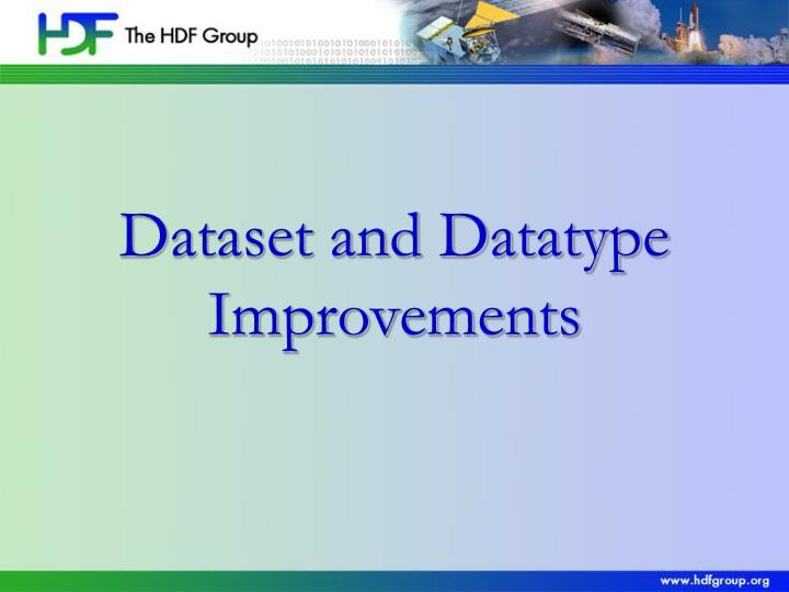 Dataset and Datatype Improvements