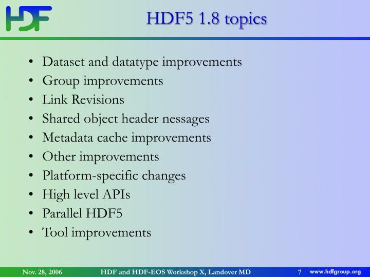 HDF5 1.8 topics
