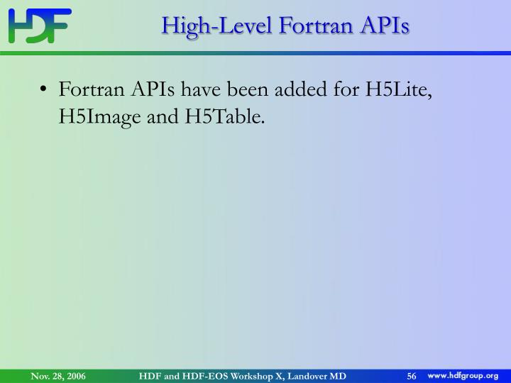 High-Level Fortran APIs