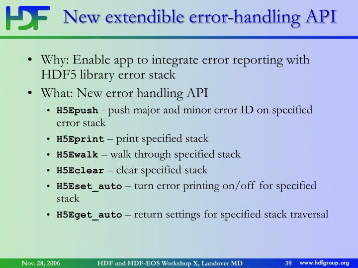 New extendible error-handling API