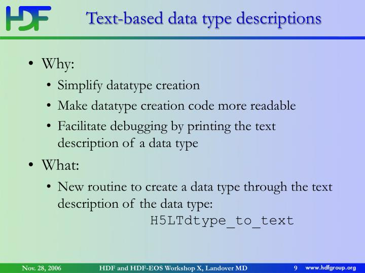 Text-based data type descriptions