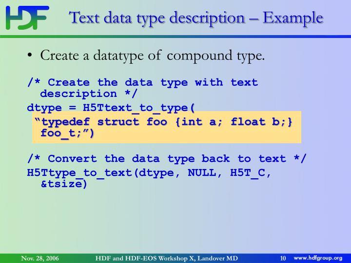 Text data type description – Example