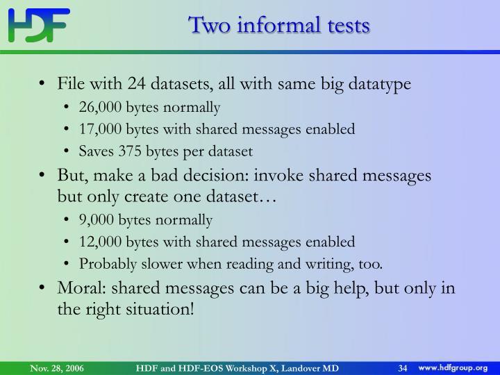 Two informal tests