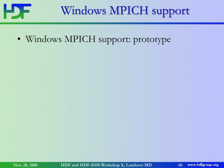 Windows MPICH support