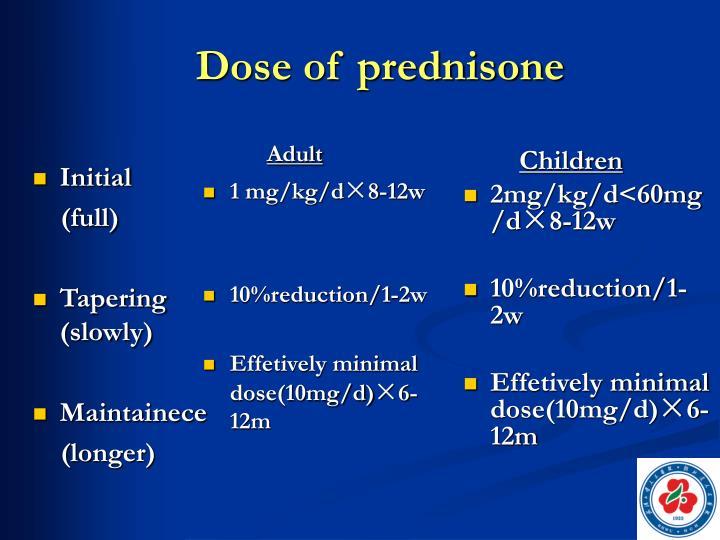 Dose of prednisone