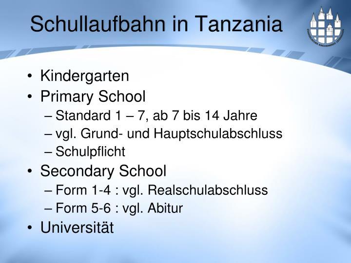 Schullaufbahn in Tanzania