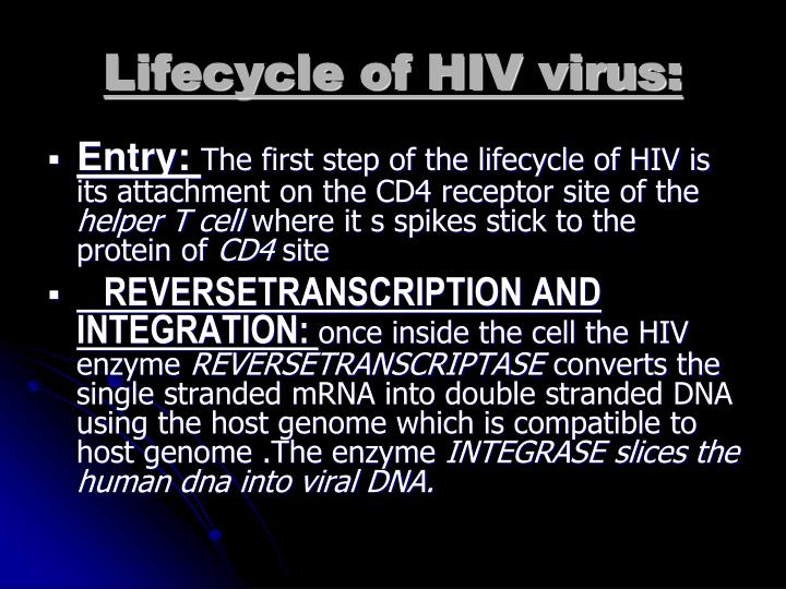 Lifecycle of HIV virus: