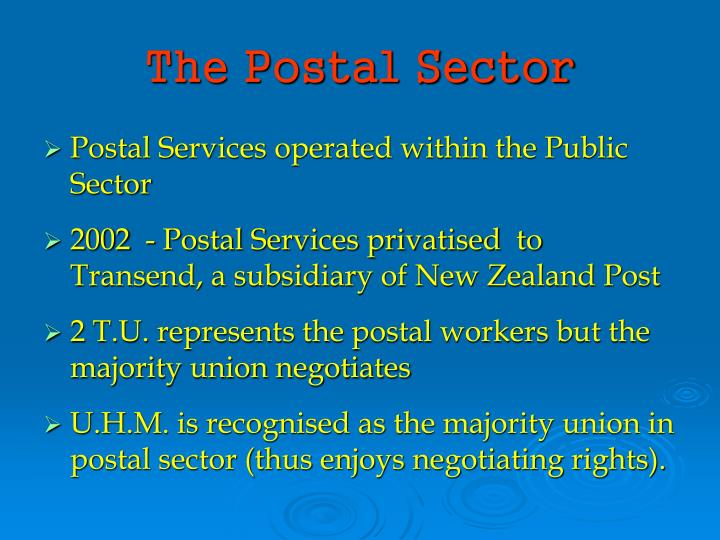 The Postal Sector