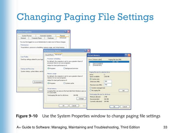 Changing Paging File Settings
