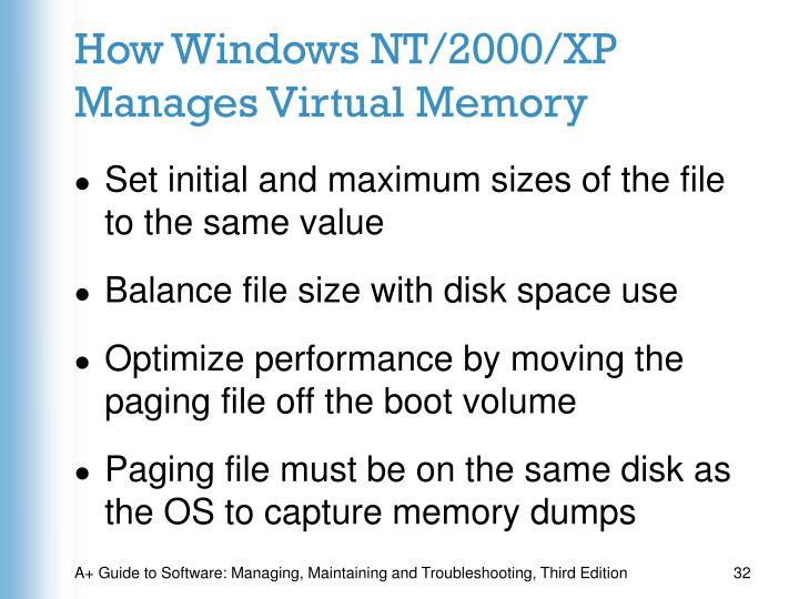 How Windows NT/2000/XP Manages Virtual Memory