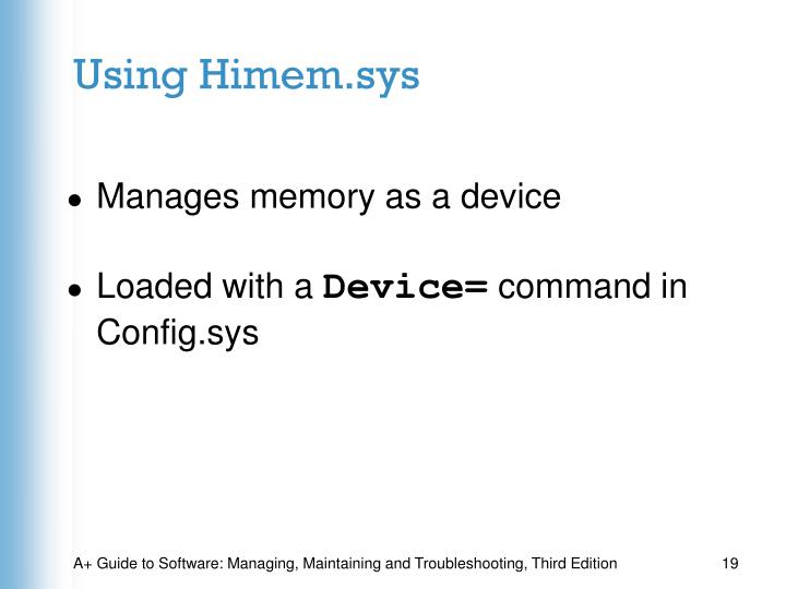Using Himem.sys