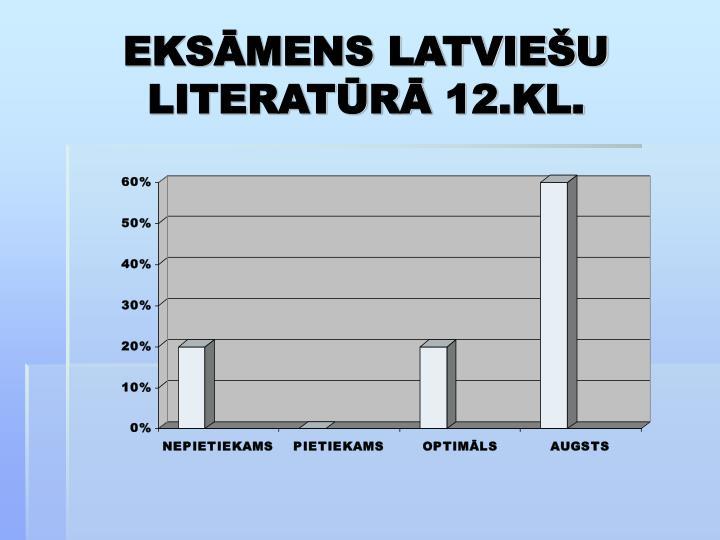 EKSĀMENS LATVIEŠU LITERATŪRĀ 12.KL.