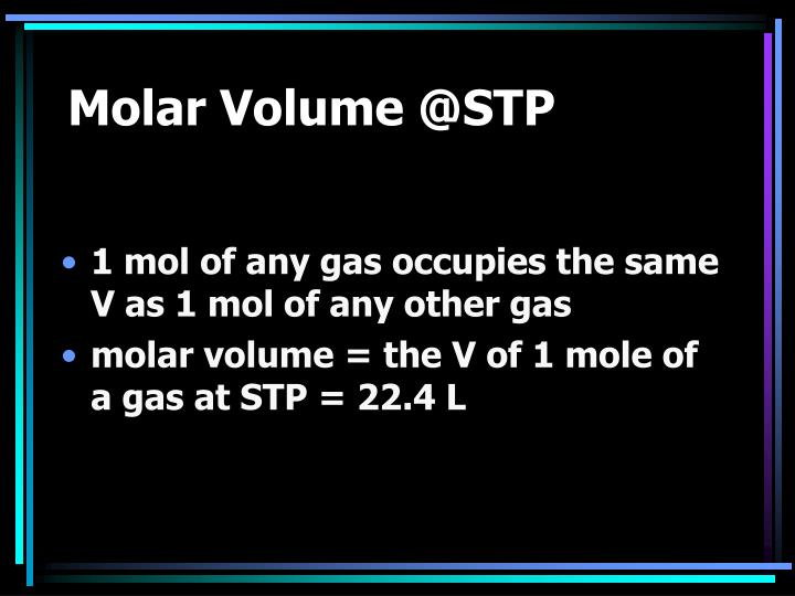 Molar volume @stp