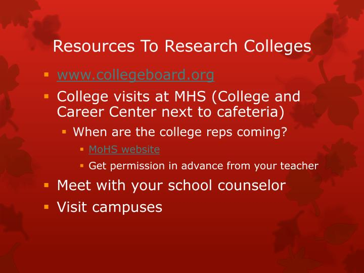 Resources To Research Colleges