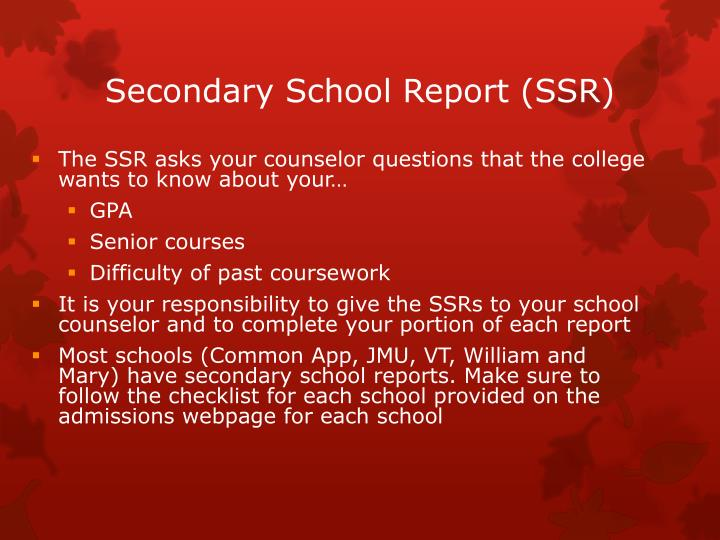 Secondary School Report (SSR)