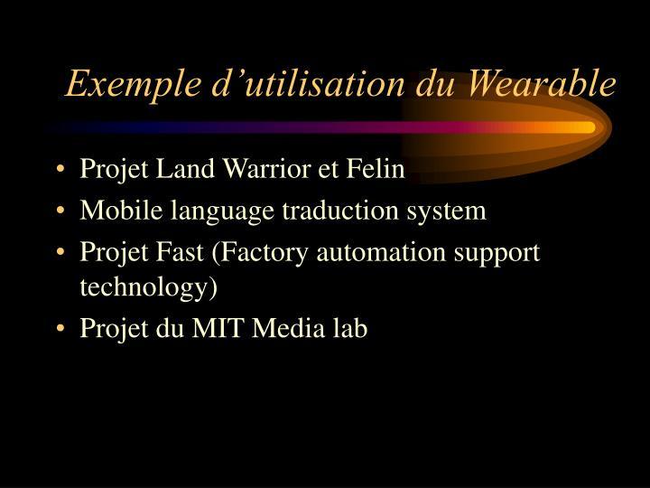Exemple d'utilisation du Wearable