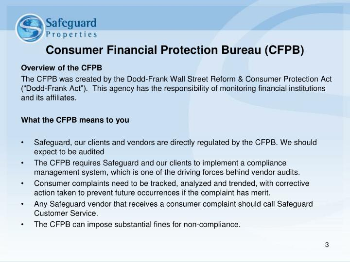 Consumer financial protection bureau cfpb