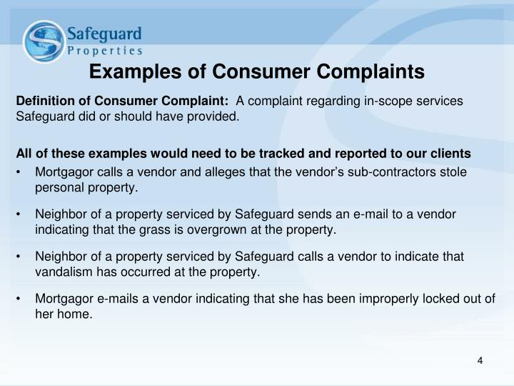 Examples of Consumer Complaints