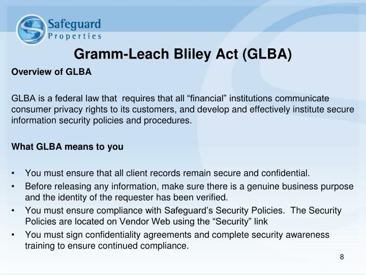 Gramm-Leach Bliley Act (GLBA)