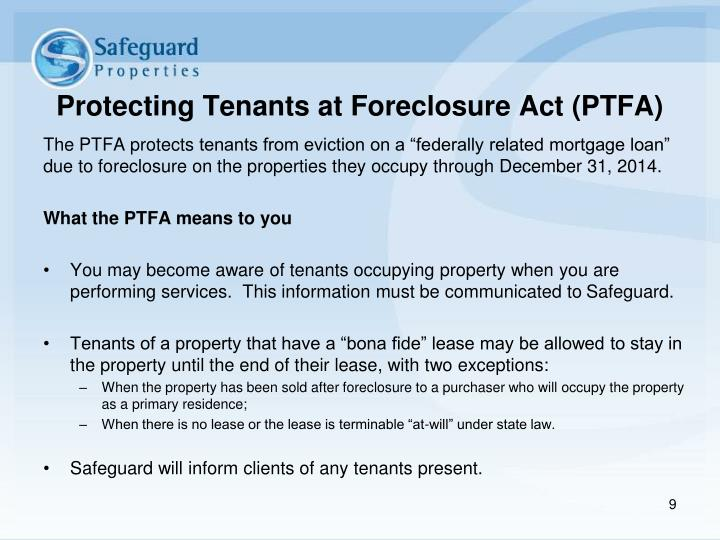 Protecting Tenants at Foreclosure Act (PTFA)