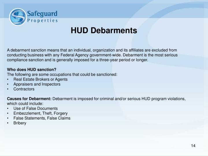 HUD Debarments
